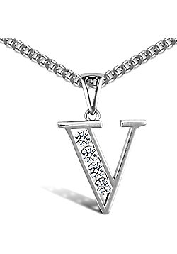 Sterling Silver Cubic Zirconia Identity Pendant - Initial V - 18inch Chain