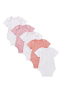 F&F 5 Pack of Polka Dot and Pointelle Short Sleeve Bodysuits - Multi