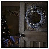 Medium Pre Lit Silver Rattan Christmas Wreath