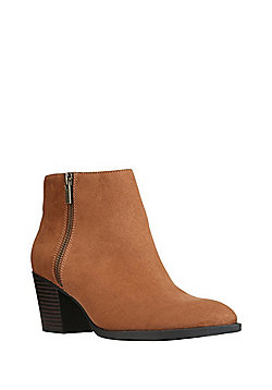 F&F Sensitive Sole Double Zip Faux Suede Ankle Boots - Tan