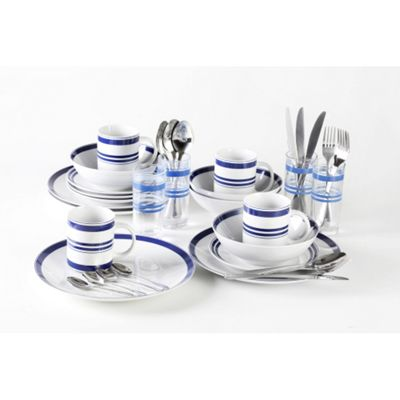 36 Piece Bistro Blue & White Stripe Combo Dinner Set