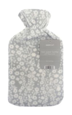 Country Club Fleece Hot Water Bottle Grey Floral