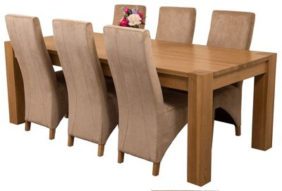 Kuba Chunky 220cm Kitchen Solid Oak Dining Set Table and 6 Beige Fabric Chairs