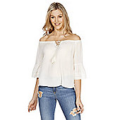 F&F Dobby Bell Sleeve Off the Shoulder Top - Cream