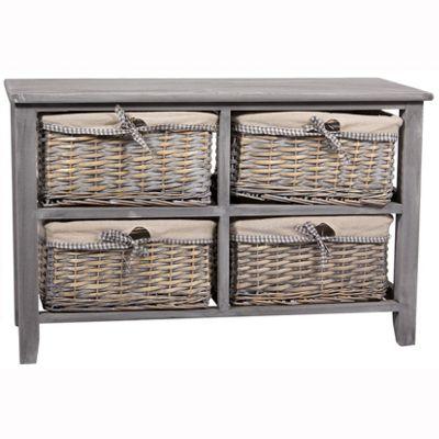 Grey Paulownia Wood 4 Drawer Unit with Plain Linin
