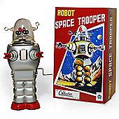 Robot Clockwork - Retro Tin Collectable Ornament - Silver