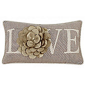 Decorative 3d Flower Cushion - Mocha / Gold / Cream