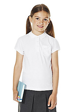 F&F School Girls Bow Pocket Polo Shirt with As New Technology - White