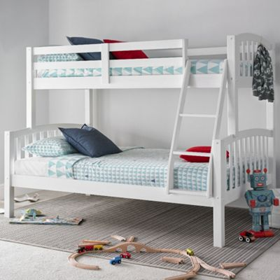 Happy Beds American Wood Kids Triple Sleeper Bunk Bed with 2 Memory Foam Mattresses - White - 4ft Small Double