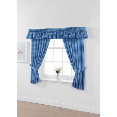 Hamilton McBride Gingham Check Bluebell Pencil Pleat Curtains - 46x42 Inches (117x107cm)