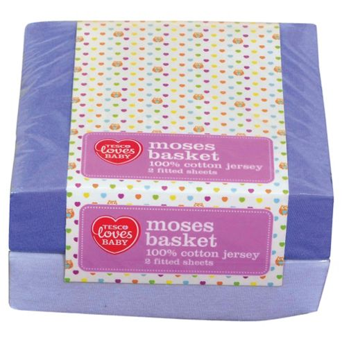 Tesco Loves Baby Moses Jersey Fitted sheet 2 pack - blue
