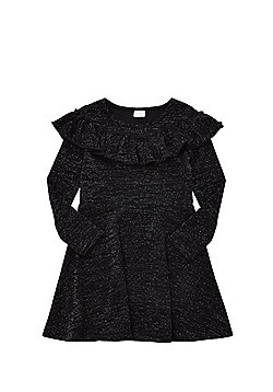 F&F Frill Sparkle Dress - Black