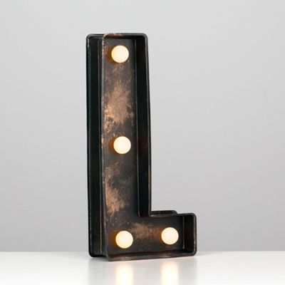 Vintage Style Battery Operated Brushed Bronze Plastic LED Light - Letter