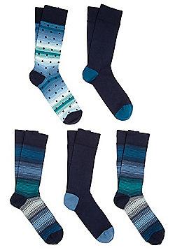 F&F 5 Pair Pack of Fresh Feel Ankle Socks - Blue