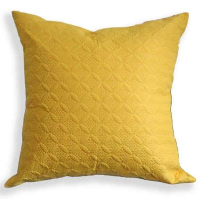 Homescapes Ultrasonic Yellow Quilted Embossed Cushion Cover, 80 x 80 cm
