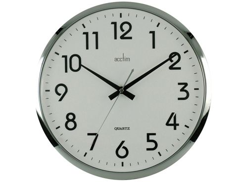 Acctim 21287 14in Orion Wall Clock Silver/White