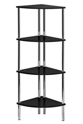 Premier Housewares Four Tier Corner Shelf Unit - Black High Gloss