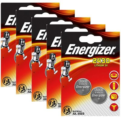 10 x Energizer CR2430 3V Lithium Coin Cell Battery 2430 DL2430 K2430L ECR2430
