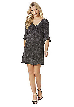 F&F Glitter Bell Sleeve Dress - Black