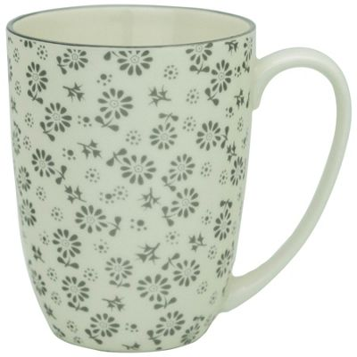Flower Design Porcelain Tea Coffee Mug Cups White / Grey 350ml