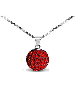 Jewelco London Sterling Silver Crystal Ruby Red Solitaire 12mm Pendant - 18 inch Chain