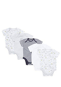 F&F 5 Pack of Transport Print and Striped Short Sleeve Bodysuits - White