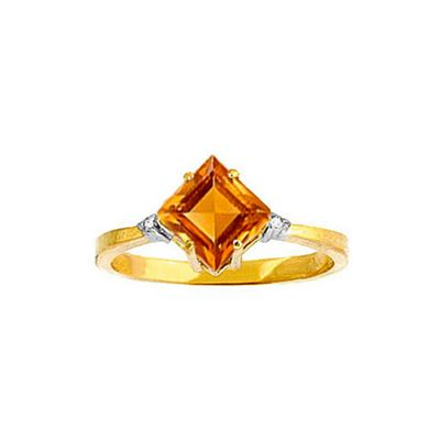 QP Jewellers Diamond & Citrine Princess Ring in 14K Gold - Size D 1/2