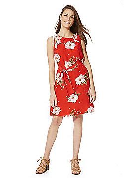 F&F Floral Print Tie Waist Sleeveless Dress - Red