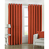 Riva Home Fiji Faux Silk Eyelet Curtains - Orange