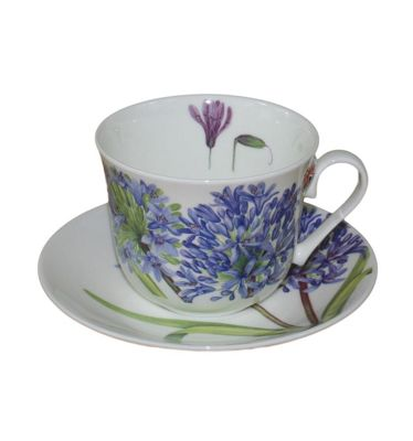 Roy Kirkham Jumbo Breakfast Cup and Saucer in Agapanthus Design 51675