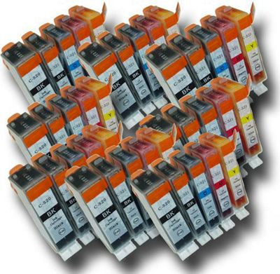 40 Chipped Compatible Canon PGI-520 & CLI-521 Ink Cartridges