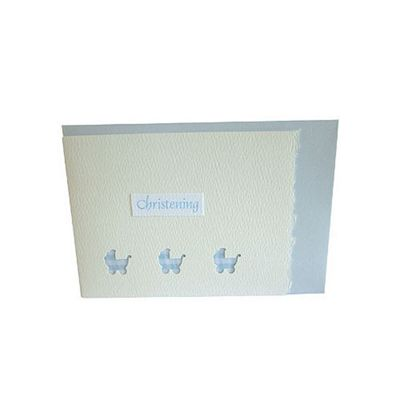 Blue Gingham Pram Mini Christening Card