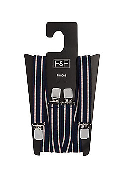 F&F Striped Braces - Navy