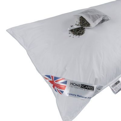 Homescapes Super Microfibre Lavender Pillow with Dried Lavender Insert Extra Fill
