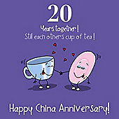 20th Wedding Anniversary Greetings Card - China Anniversary