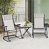 Outsunny 3 PC Bistro Set Patio Folding Rocking Armrest Chairs Camping Sling Seat - Beige