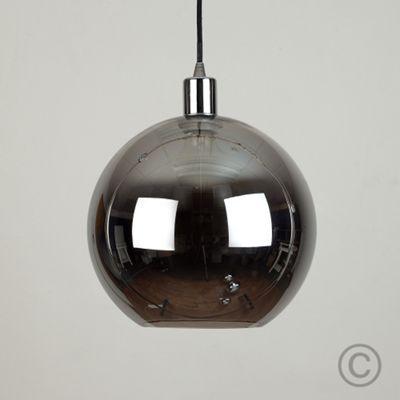 Chrome and Black Suspended Light & Metallic Black Glass Globe Shade