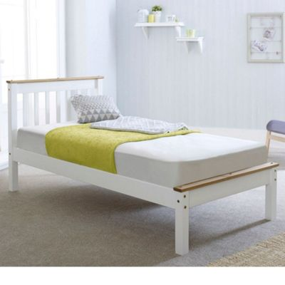 Happy Beds Derby Wood Low Foot End Bed with Memory Foam Mattress - White and Oak - 3ft Single