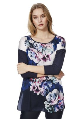 Roman Originals Floral Print Satin Front Top Navy 20