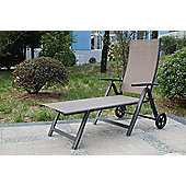 Royalcraft Taupe Wheeled Garden Sun Lounger