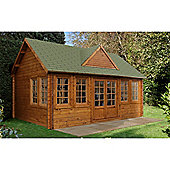 5.5m x 4.0m Log Cabin + 8 Windows - 44mm Wall Thickness - INSTALLED