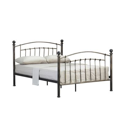 Comfy Living 4ft6 Double Brushed Metal Effect Metal Bed Frame in Brass with Damask Sprung Mattress