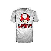 Nintendo Super Mario Bros Red Mushroom I Need A Power Up Mens XL T-Shirt, White - Gaming T-Shirts