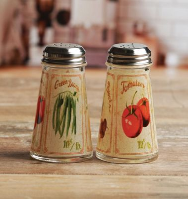 Eddingtons Bistro Salt and Pepper Shaker with Stainless Steel Lid, Vegetables Decal 20666762
