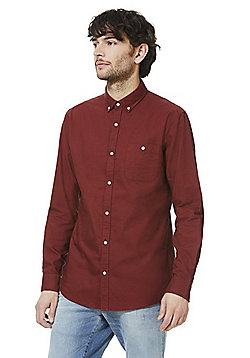 F&F Button Down Collar Long Sleeve Oxford Shirt - Rust orange