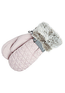 """F&F Quilted Faux Fur Trim Mittens with Thinsulate""""™ - Pink"""