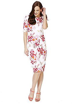 F&F Orchid Print Scuba Pencil Dress - Pink
