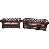 Chesterfield 3 Seater and 2 Seater Brown Leather Sofa
