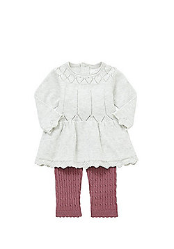 F&F Pointelle Tunic and Cable Knit Leggings Set - Cream