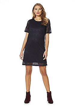 Vero Moda Peacock Feather Lace Shift Dress - Navy